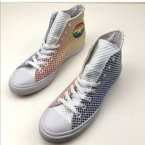 9ca11d9d2db ... Converse Shoes - Converse Chuck Taylor All Star Pride Mesh Hi Top on  feet shots of ...